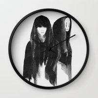 shinee Wall Clocks featuring kaonashi (no face) by helenwidjaja