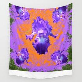 Decorative Lilac Purple Iris Green-Orangey Art Pattern Wall Tapestry