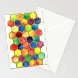 Bright Colorful Hexagons Stationery Cards