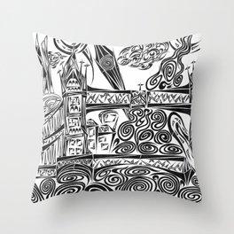 Jumbled London Throw Pillow