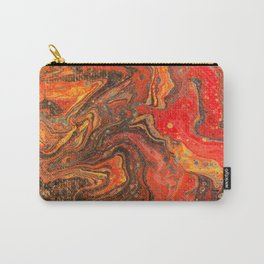 Fluid Art Acrylic Painting Pour 24, Red, Yellow, Orange & Black Blended Color Carry-All Pouch