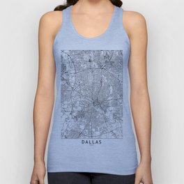Dallas White Map Unisex Tank Top