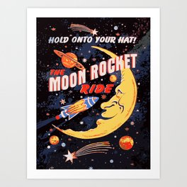 Rocket Moon Ride (vintage) Art Print