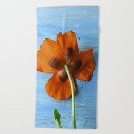 Red Poppy on Blue Beach Towel