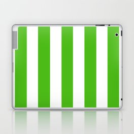 Kelly green - solid color - white vertical lines pattern Laptop & iPad Skin