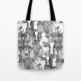 just cattle black white Tote Bag
