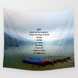 Serenity Prayer With Phewa Lake Panoramic View Wall Tapestry