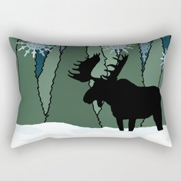 Moose in the Snowy Forest Rectangular Pillow