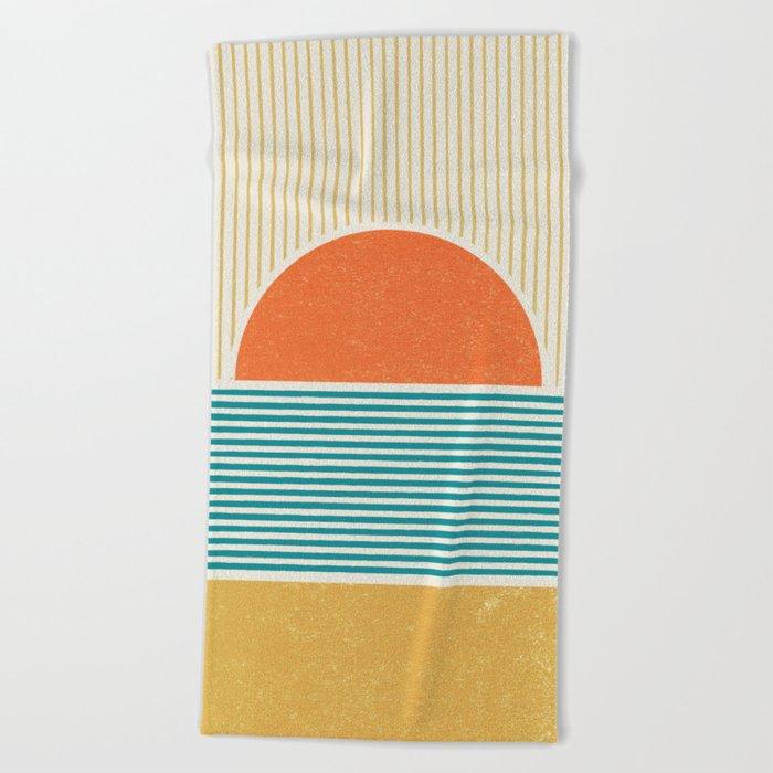 Sun Beach Stripes - Mid Century Modern Abstract Beach Towel