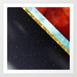 Golden Marble with space Art Print