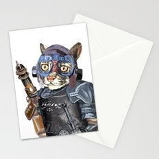 Naughty Pilot Cat with Laser Gun and Heavy Armor Stationery Cards