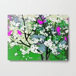 Pink Birds and White Blossoms on Trees Metal Print