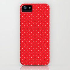 White polka dots on red Slim Case iPhone (5, 5s)