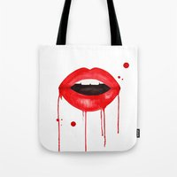 lips Tote Bags featuring lips by KASAMONART