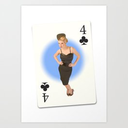 """""""Four of Clubs"""" - Playful Pinup - Retro Girl on Playing Card by Maxwell H. Johnson Art Print"""