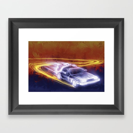 Neon Back to the Future Framed Art Print