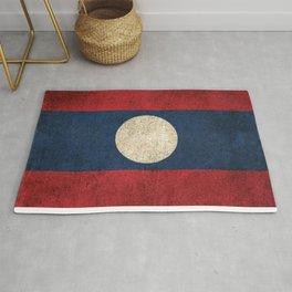 Old and Worn Distressed Vintage Flag of Laos Rug