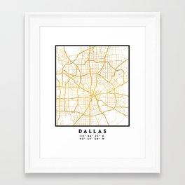 DALLAS TEXAS CITY STREET MAP ART Framed Art Print