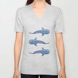 Whale Shark - pink and blue Unisex V-Neck
