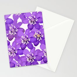 Purple wildflowers on a white background - spring atmosphere Stationery Cards