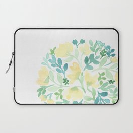 Yellow and Blue Floral Circle Laptop Sleeve