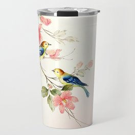 VINTAGE LOVE BIRDS | blush pink white Travel Mug