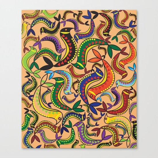 color bird pattern Canvas Print