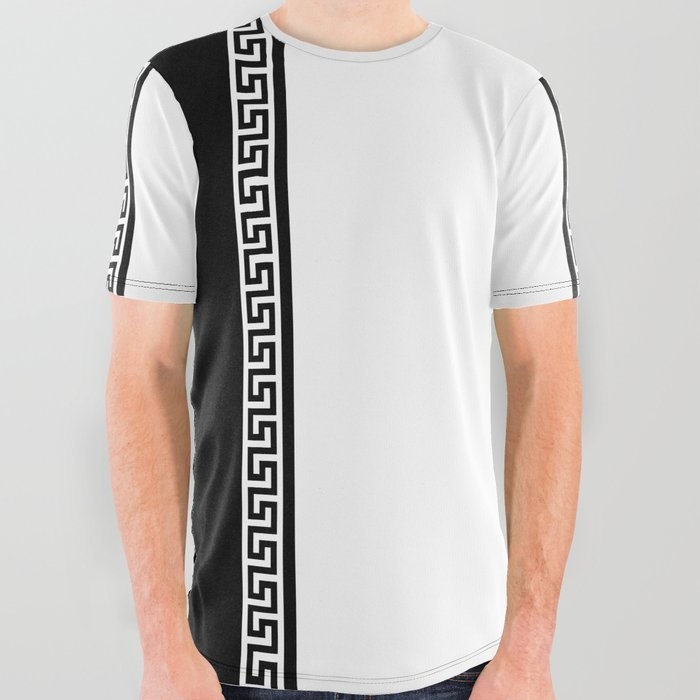 Greek Key 2 - White and Black All Over Graphic Tee by artbysamanthaperezz