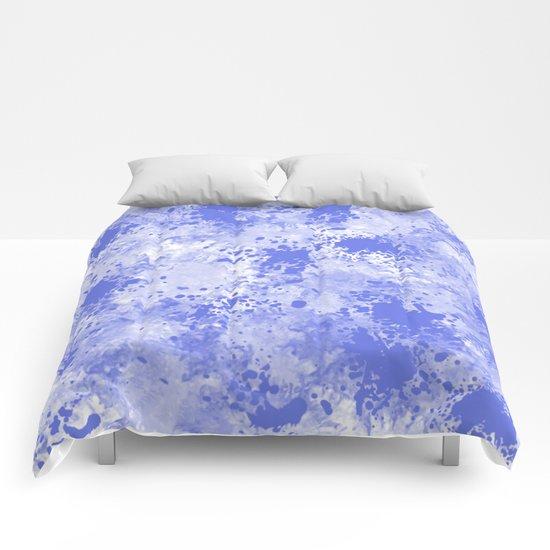 Blue Watercolor Paint Splatter Abstract Comforters