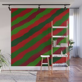 Red and Green Christmas Wrapping Paper Wall Mural