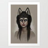 husky Art Prints featuring Husky by Fernanda Suarez