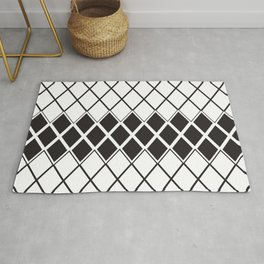 Rhombs Black and white pattern Rug