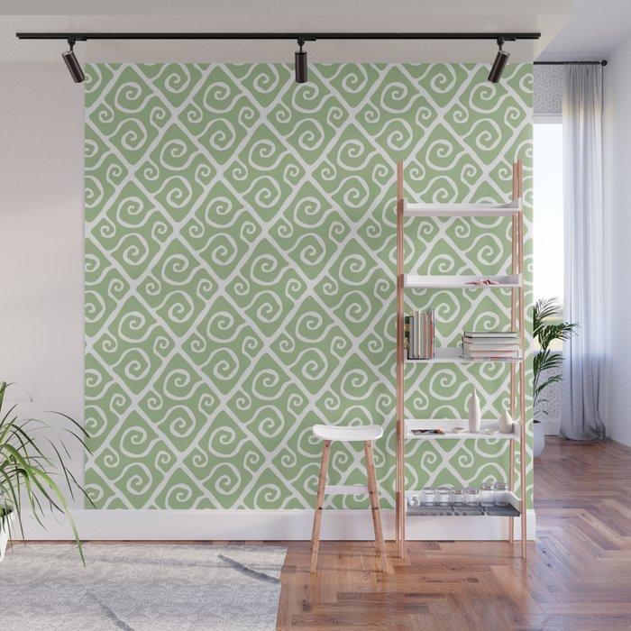Mid Century Modern Diamond Swirl Pattern Sage Green Wall Mural