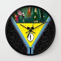 gravity falls Wall Clocks featuring Gravity Falls by itspronouncedDEE-ANN-UH