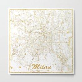 Milan Map Gold Metal Print