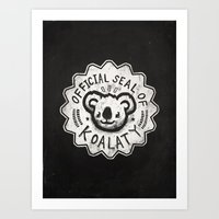 koala Art Prints featuring Koala by Ronan Lynam
