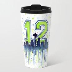 Hawks 12th Man Fan Art Seattle Space Needle Travel Mug