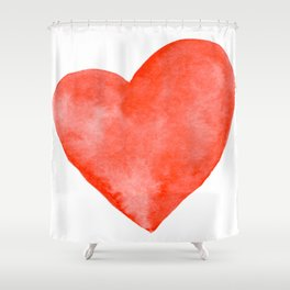 Red Watercolor Heart Shower Curtain