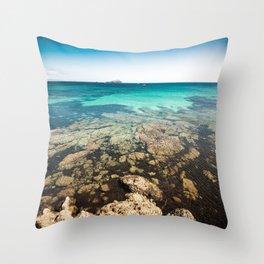 rocky sea landscape Throw Pillow