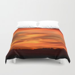 Sunrise - Munich look south Alpes and Lake Tegernsee Valley Duvet Cover