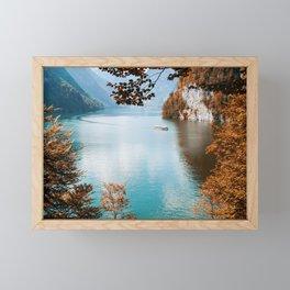 Alone on the lake Framed Mini Art Print