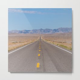 Open Road Photography, Loneliest Highway in America Photo, Nevada Road, Travel Photography Metal Print
