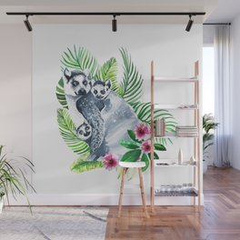 Family of lemurs with tropical leaves watercolor Wall Mural