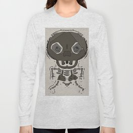skull head and bone graffiti drawing with brown background Long Sleeve T-shirt