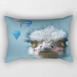 Ostrich and Balloons Whimsical Photo Rectangular Pillow
