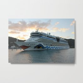 AIDAluna Cruise Ship in Road Town on Tortola Metal Print