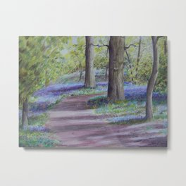 Bluebell woods in coloured pencil Metal Print