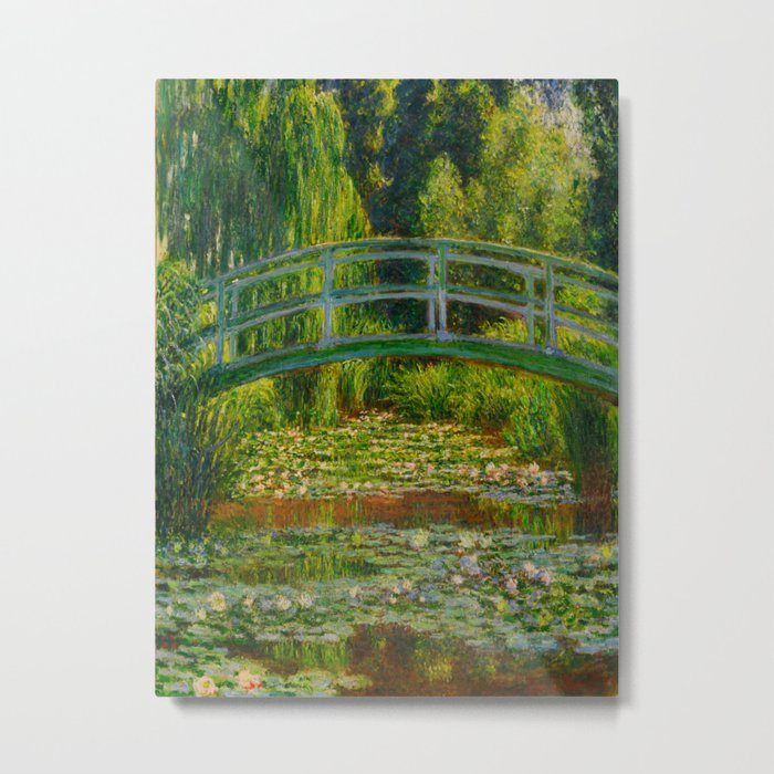 Claude Monet Impressionist Landscape Oil Painting-The Japanese Footbridge and the Water Lily Pool Metal Print