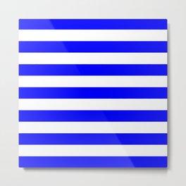 Horizontal Stripes (Blue/White) Metal Print
