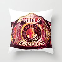 nba Throw Pillows featuring NBA CHAMPIONSHIP BELT by mergedvisible